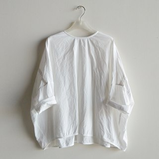 Shell back buckle eight-point sleeves washed cotton white