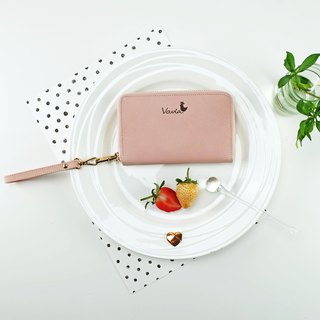 ❥Rose Quartz ( Black Logo ) ♥ Medium Zip Around Wristlet [Cow Leather]