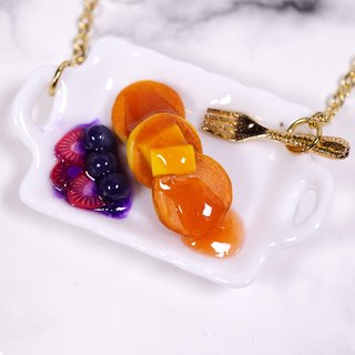 *Playful Design* Mini Pancake With Strawberry Sauce Necklace