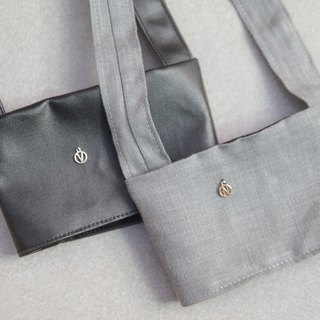Valentine's Day 1+1 Couple Gifts Eco Bags Deep Black Leather Japanese Grey Linen Customization
