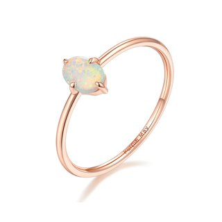 【PurpleMay Jewellery】18k Rose Gold Simple Opal Ring Band R025