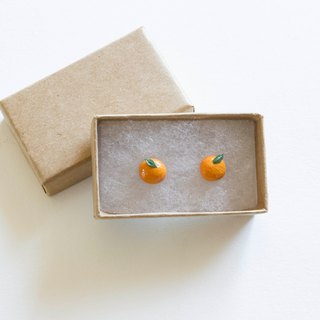 Hand made soft pottery orange earrings sterling silver