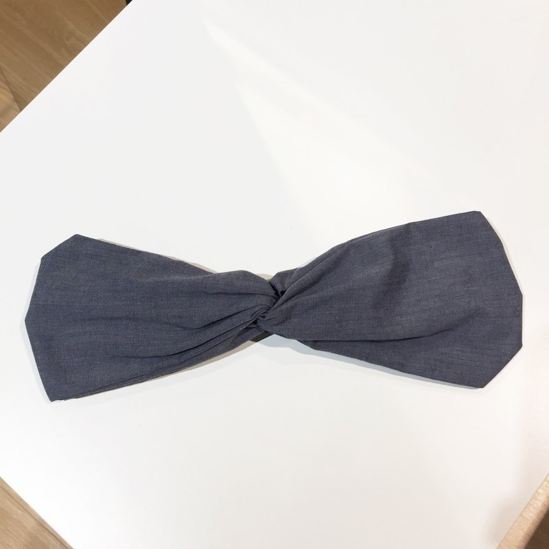 Blue / plain gray / wide elastic handmade hair band