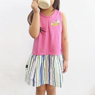 【Egret Toughen】 girl stitching dress skirt / pink