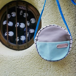mini crossbody circle bag small size grid pattern,grey blue and mint colour