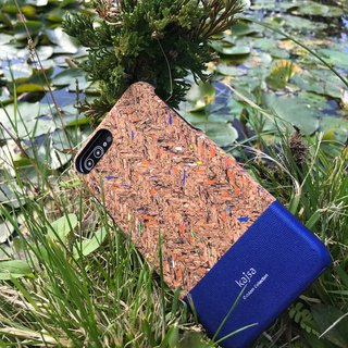 Cork single cover mobile phone case blue