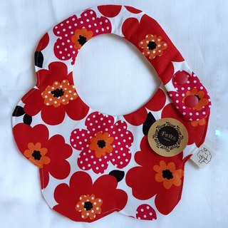 Nordic flowers (red and black) - cotton 100% cotton double-sided egg bib. saliva towel