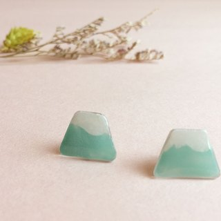Green Hill - hand-painted earrings (can change the clip)