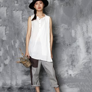 Jumping stone round neck slanted sleeveless top
