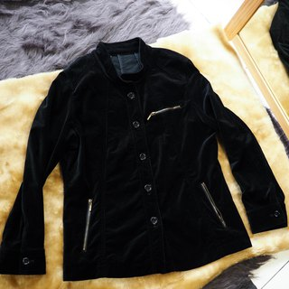 Aichi pure black simple fallen version of the rate girl antique gold velvet cotton buttoned jacket