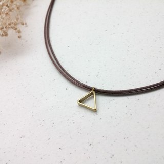 Wax line necklace brass hollow triangle frame plain simple wax rope thin line