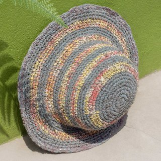 Hand-knitted cotton and linen cap knit hat fisherman hat sun hat straw hat - romantic French rainbow striped cap