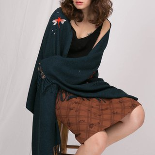 轲 artificial original design spring and autumn winter handmade 羊 imitation cashmere shawl bib dual-use Chinese style garden