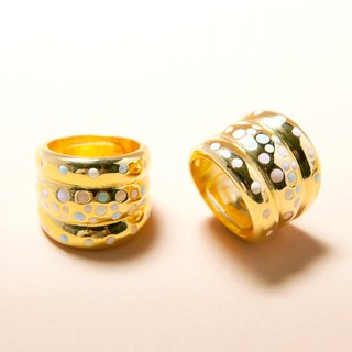 Pastel Polka Dot Band Ring, Wide Band Ring, Gold Band Ring, Polka Dot Ring, Curved Band Ring, Enamel Polka Dot Ring