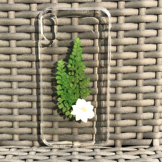iPhone X Dry Pressed Flowers Case White Flower with Green Leaves 024