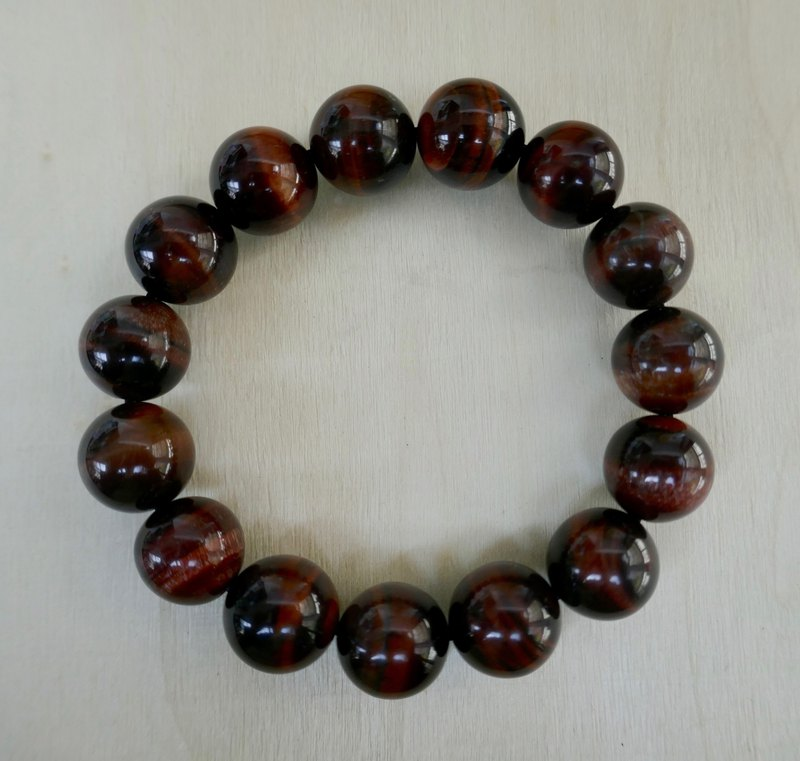 BR0377-Natural Gem Bracelet-Own Design & Manufacture-Red Tiger Eye