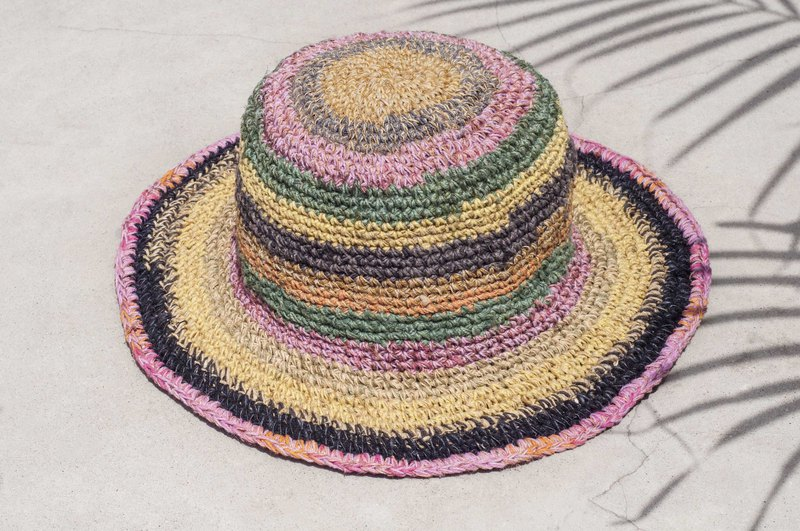 6def7f4d850 Hand-knitted cotton and linen cap knit hat fisherman hat sun hat straw hat  - tropical fruit tea rainbow stripes - Designer omhandmade
