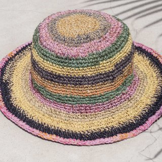 Hand-knitted cotton and linen cap knit hat fisherman hat sun hat straw hat - tropical fruit tea rainbow stripes