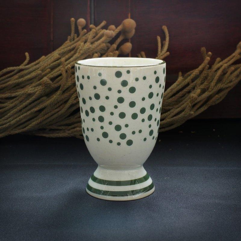 早期高臺小杯-小綠點點 (餐具/舊物/清酒/普普/日式)