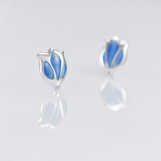 [Wonderland] tulip 925 silver enamel earrings - Blue Bird feather