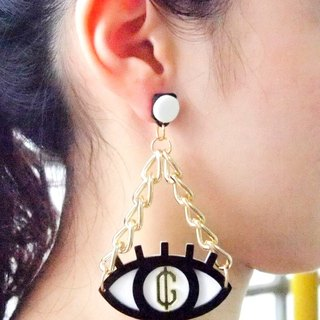 Greed Eyes Double Chain Earring