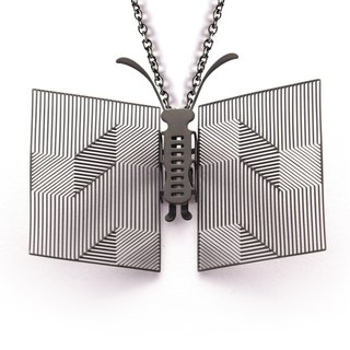 Magi-Steel Thin Steel Jewelry Looks Like Nothing - Book Necklace (Fog Black)
