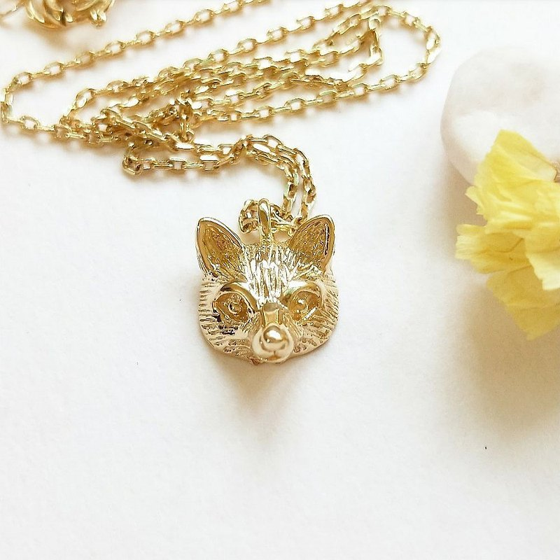 DoriAN Recruiting Peach Blossom Little Fox Silver Fox 925 Sterling Silver 18K Gold Necklace With Sterling Silver Guarantee Card