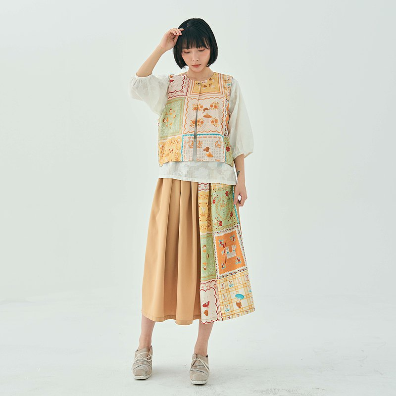 SPRING JAPAN PRINTING COTTON APRICOT SOFT VEST COAT