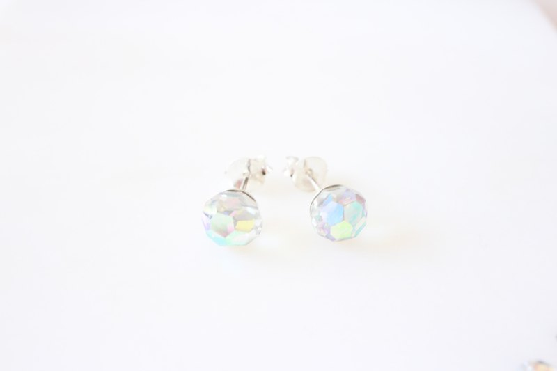 ☆ Rainbow gem series / 8mm crystal round earrings / Austrian crystal / 925 sterling silver earrings / pair / allergy birthday gift