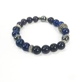 [Blue] vintage old metal beaded bracelet couple models black gallstone Pandora beads bespoke system