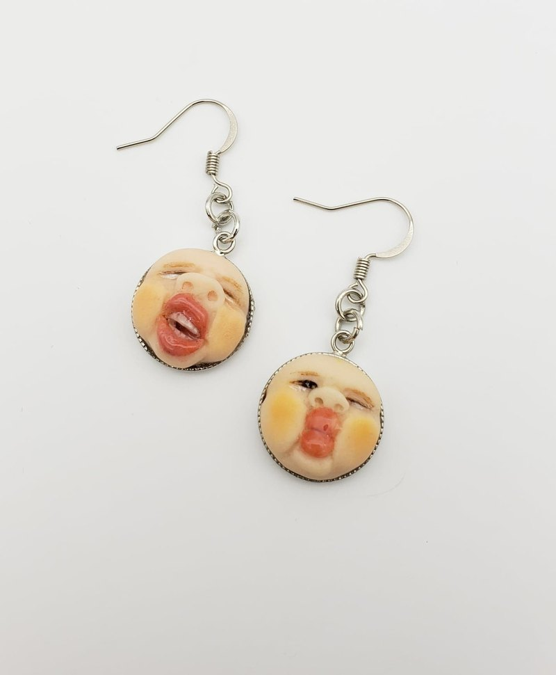 Cute face soft clay earrings