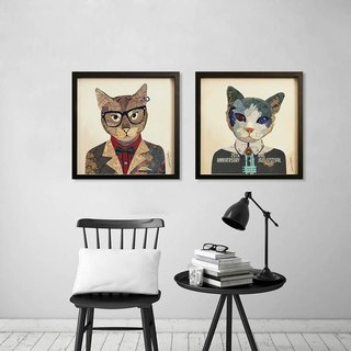 Mr. Cat cat lady 3D collage paintings