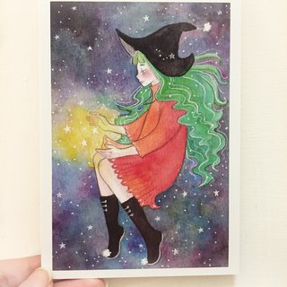 Little witch DOLLY-painted watercolor postcards