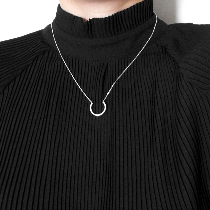 Crazy Geometry | Minimalist Horseshoe Arc Circular Tube 925 Sterling Silver Necklace/Clavicle Chain/Multilayer Chain
