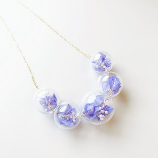 Preserved Flower Planet Ball Pastel Purple Lavender  Necklace