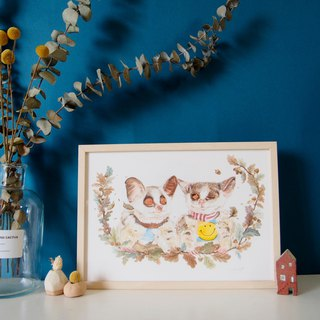Customized Pet Flower Hand Painted Watercolor Illustration - A4 Many Hairy Boys (Full Body with Box)