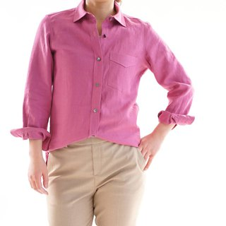 women's linen shirt / dress shirt / long sleeve / Italian rose b32-15