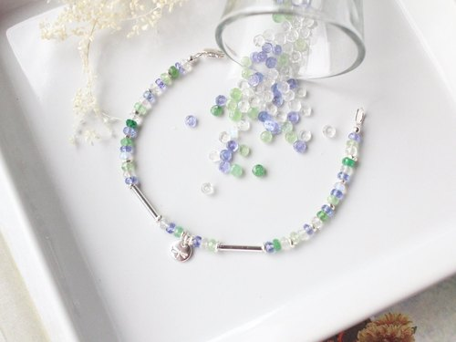 Journal lavender garden / natural Tanzanite, Shafo Lai, moonstone silver bracelets