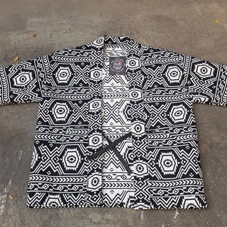 AMIN'S SHINY WORLD handmade KIMONO black and white ethnic totem jacquard full version blouse coat