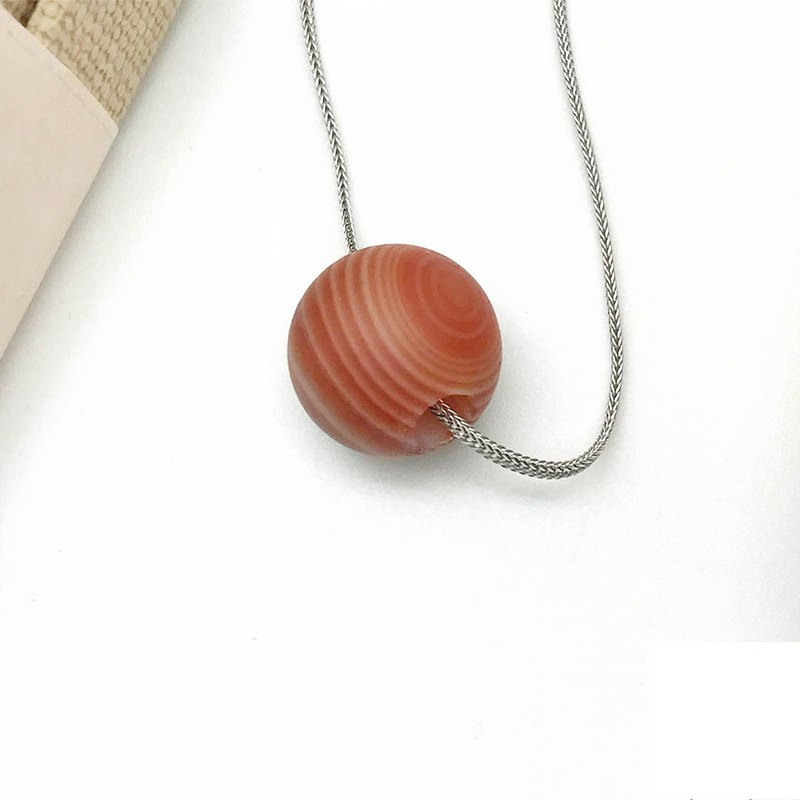 925 Silver Red Striped Agate 14mm Bead Pendant Necklace