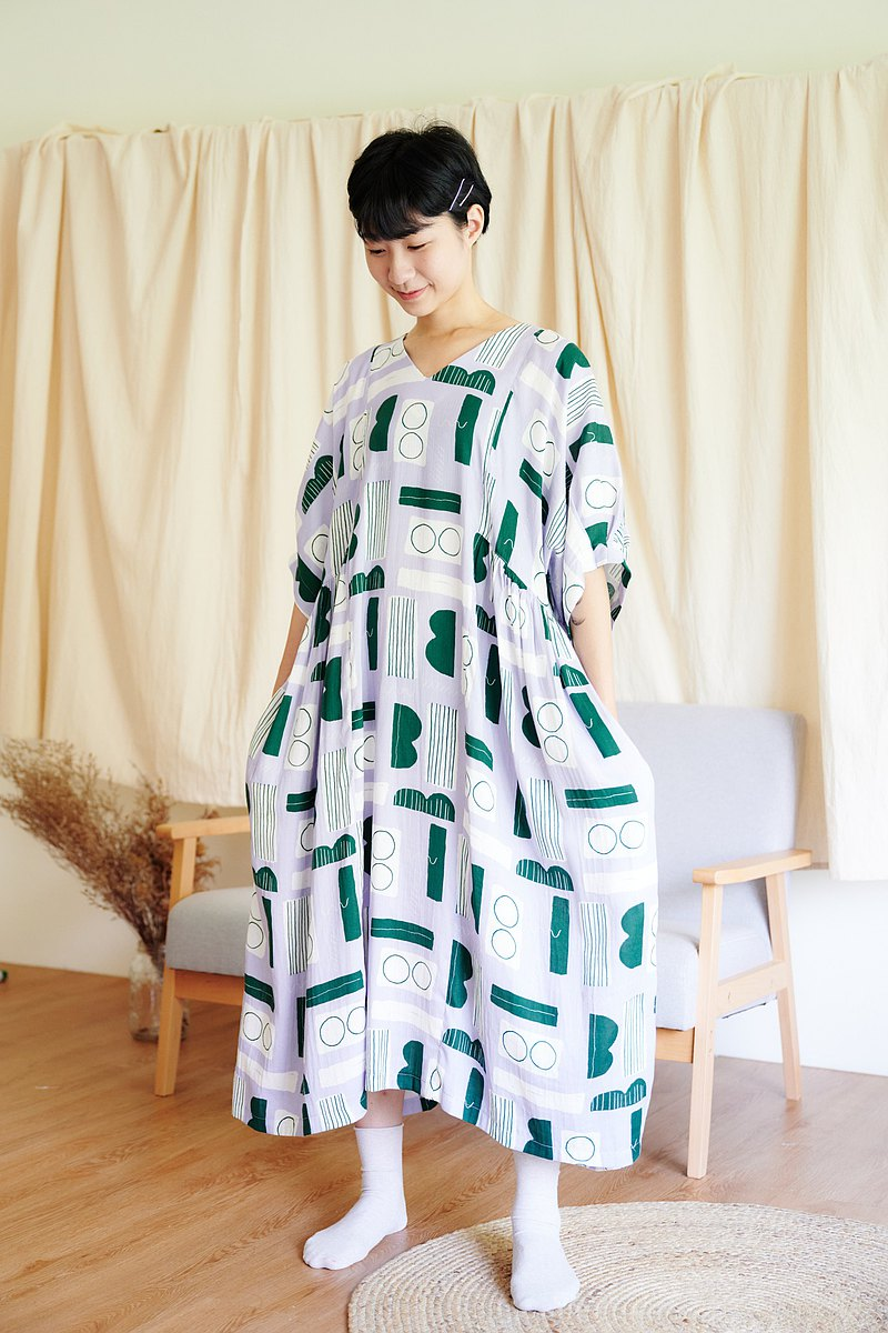 Main Island House Printed Dress / Five-point Sleeve Patch Pocket Ruching Dress / 025 Eye Gum-Purple