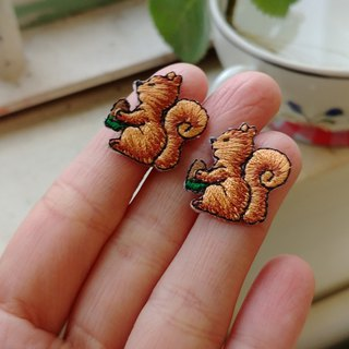 LineWorkLab Embroidery woodland squirrel earrings