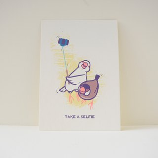 "postcard:Java Sparrow - ""Take A Selfie"""