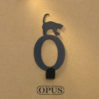 [OPUS Dong Qi Metalworking] When the cat met the letter O - hook (black) / wall hanging hook / furniture rack / life storage / rack / style hook / no trace / HO-ca10-O (B)