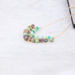 Simple gorgeous green Czech beads 14KGF long chain