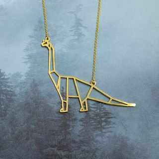 Brachiosaurus ,Origami, Dinosaur Necklace, Gold plated Necklace, Dinosaur Gifts