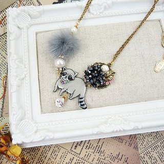 §HUKUROU§ small raccoon necklace (gray)