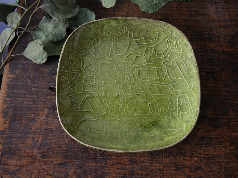 Green square plate with relief finches