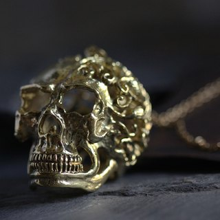 Leafs and Flowers Graphic Human Skull Charm Necklace by Defy - Unique Design Pendant Jewelry