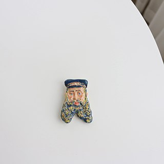 Ceramic Post-man Brooch / Magnet